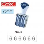 COX 4號6連 號碼印25mm