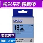 EPSON LK-5LBP 標籤帶(粉彩系列)藍底黑字18mm