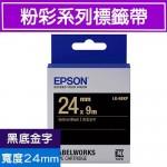 EPSON LK-6BKP 標籤帶(粉彩系列)黑底金字24mm