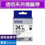 EPSON LK-6TBN 標籤帶(透明系列)透明底黑字24m
