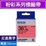 EPSON LK-7RBP S657402 標籤帶(粉彩系列)紅底黑字36mm
